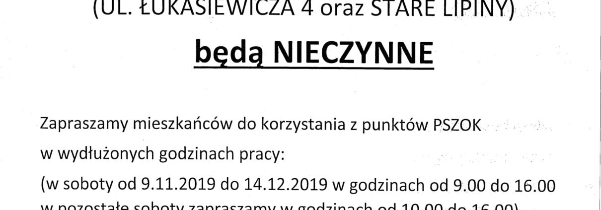 W dniu 02.11.2019 (SOBOTA) PSZOKi będą NIECZYNNE