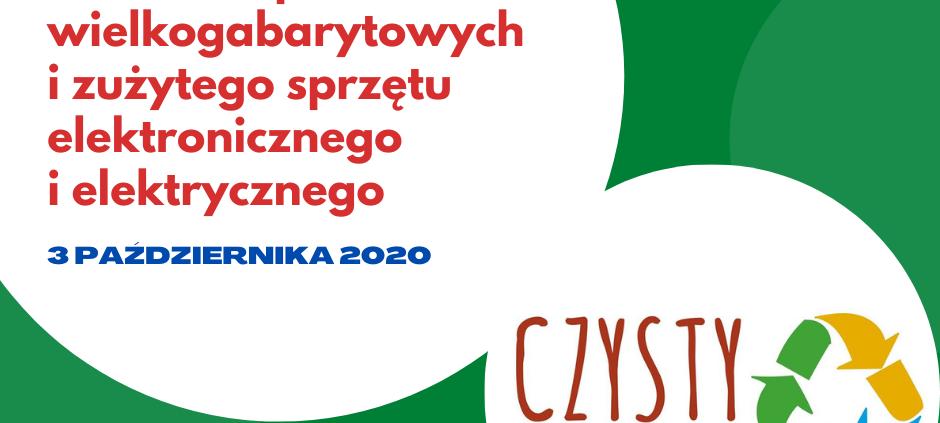 Logo czysty Wołomin i napis w kole Odbiór odpadów Wielkogabarytowych 3 października 2020